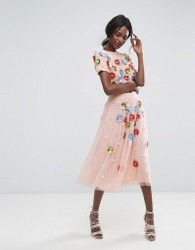 Lace & Beads Neon 3D Embellished Tulle Skirt - Multi