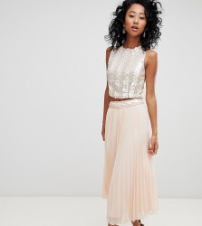 Lace & Beads pleated midi skirt with embellished waistband in nude - Pink
