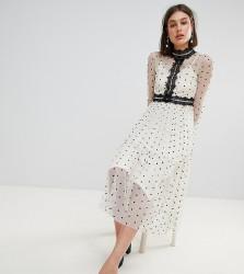 Lace & Beads Polka Dot Midi Dress With Lace Inserts - Cream