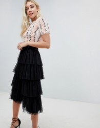 Lace & Beads ruffle embellished crop top with pom pom in nude - Pink