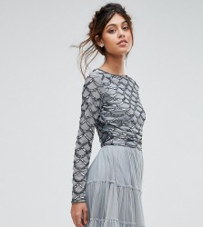 Lace & Beads Scallop Embellished Crop Top With Long Sleeve - Grey