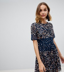 Lace & Beads scatter embellished mini dress in navy - Navy