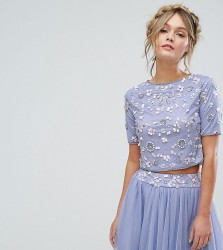 Lace & Beads Short Sleeved Crop Top With 3D Embellishment Co-ord - Purple