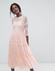 Lace & Beads Tiered Sheer Tulle Midi Dress with 3/4 Sleeve - Green