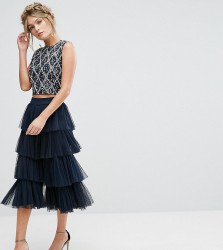 Lace & Beads Tiered Tulle Culottes - Navy