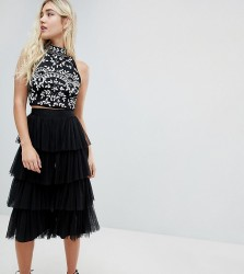 Lace & Beads tierred tulle culottes in black - Black
