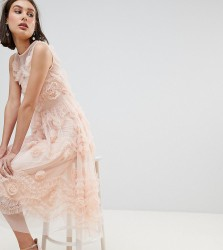 Lace & Beads Tulle Midi Dress With 3D Shirring Detail - Pink