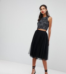 Lace & Beads Tulle Midi Skirt - Black