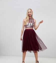 Lace & Beads tulle midi skirt in berry - Red
