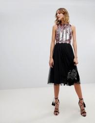 Lace & Beads tulle midi skirt in black - Black