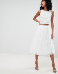 Lace & Beads tulle midi skirt in white - White