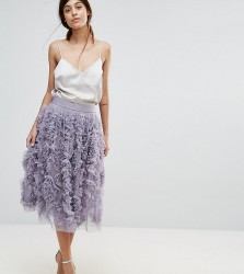Lace & Beads Tulle Midi Skirt With 3D Shirring Detail - Green