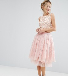 Lace & Beads Tulle Midi Skirt with Lace Overlay - Pink