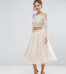 Lace & Beads Tulle Skirt with Allover Beading and Embellished Waist Co Ord - Cream