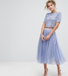 Lace & Beads Tulle Skirt With Embellished Waist Co-ord - Purple