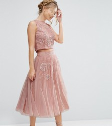 Lace & Beads Tulle Skirt with Floral Embellishment Co Ord - Pink