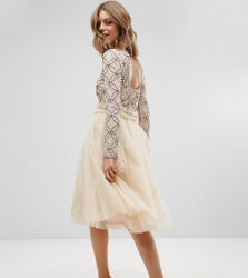 Lace & Beads Tulle Skirt with Gathered Waist Detail - Cream