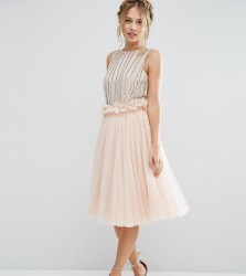 Lace & Beads Tulle Skirt with Gathered Waist Detail - Pink