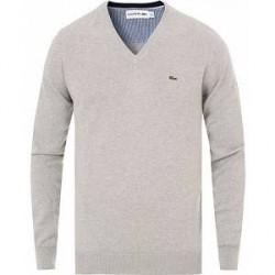 Lacoste Cotton Pullover V-Neck Silver Chine
