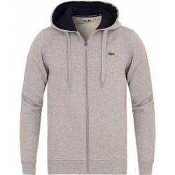 Lacoste Full Zip Hoodie Sweatshirt Argent Chine