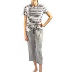 Lady Avenue Soft Bamboo Pyjamas - Striped-2 - Large