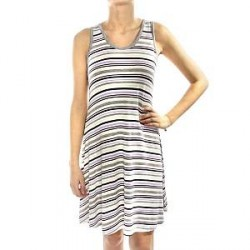 Lady Avenue Soft Bamboo Short Nightdress - Striped-2 - Large