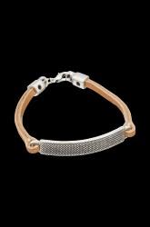 Læderarmbånd med metalbrik