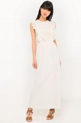 Lang kjole i to materialer