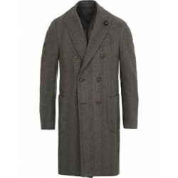 Lardini Double Herringbone Wool Coat Grey