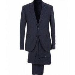 Lardini Wool Tonal Check Suit Navy