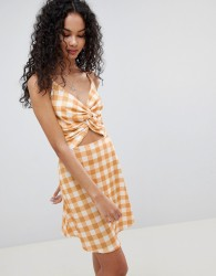 Lasula Check Tie Front Cut Out Dress - Yellow