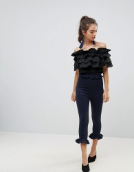 Lasula Double Frill Waistband Frill Bottom Pants - Navy