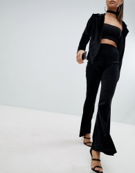 Lasula Flared Velvet Trouser - Black
