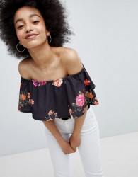 Lasula Floral Bardot Crop Top - Black
