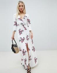 Lasula Floral Long Sleeve Split Maxi - White