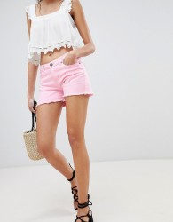 Lasula Frayed Denim Shorts - Pink
