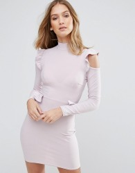 Lasula Frill Waist And Shoulder Dress - Purple