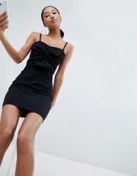 Lasula knot front cami mini dress in black - Black