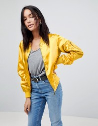 Lasula Satin Bomber Jacket - Yellow