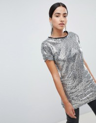 Lasula sequin longline t-shirt in silver - Pink