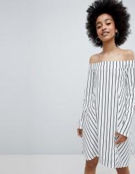Lasula Stripe Off Shoulder Dress - White