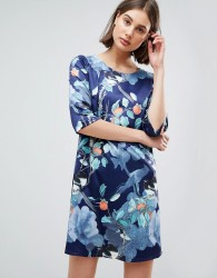 Lavand Floral Shift Dress - Navy