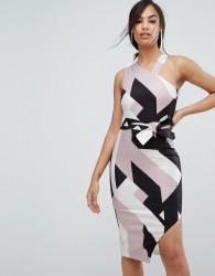 Lavish Alice Abstract Print Asymmetric Halterneck Midi Dress - Multi