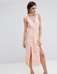 Lavish Alice Abstract Print Midi Dress With Double Split - Multi