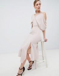 Lavish Alice Asymmetric Cold Shoulder Floaty Midaxi Dress - Pink