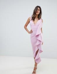 Lavish Alice asymmetric draped frill midi dress in scuba - Purple