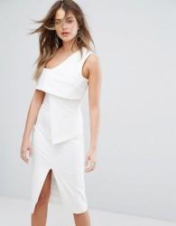 Lavish Alice Asymmetric Midi Dress - White