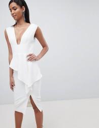 Lavish Alice asymmetric plunge front midi dress - White
