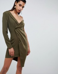 Lavish Alice asymmetric tuxedo dress - Green