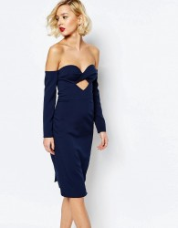 Lavish Alice Bandeau Cut Out Midi Dress - Navy